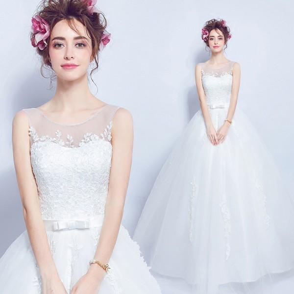 2db8d4d58a307 花嫁ドレス ウエディングドレス 披露宴二次会 気質 Aライン ロング ウエディングドレス 白 ドレス☆格安