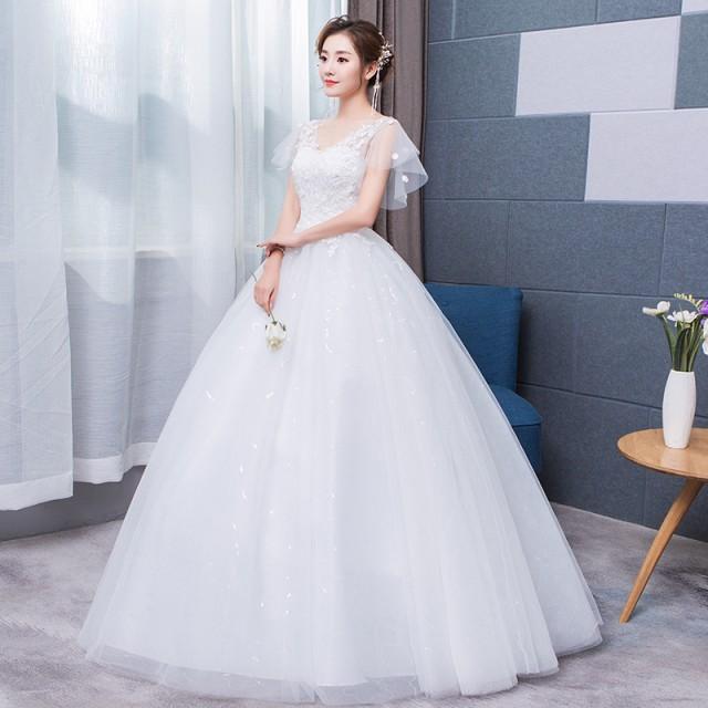 3ad7f0e2e5668 韓国風ウェディングドレス花嫁結婚式二次会ドレス パーティードレス ロングドレス マタニティウエディングドレス