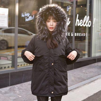 韓国ファッション ボリュームエコファー ロングコ...
