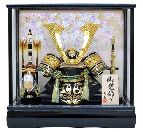 床飾り用緑毛氈付京寿 五月人形 兜飾り  木製弓太...
