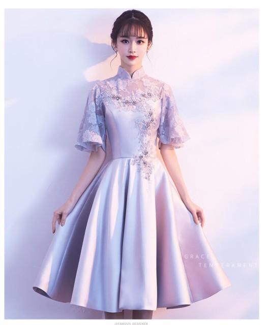 立ち襟ウエディングドレス二次会  ブライズメイド...