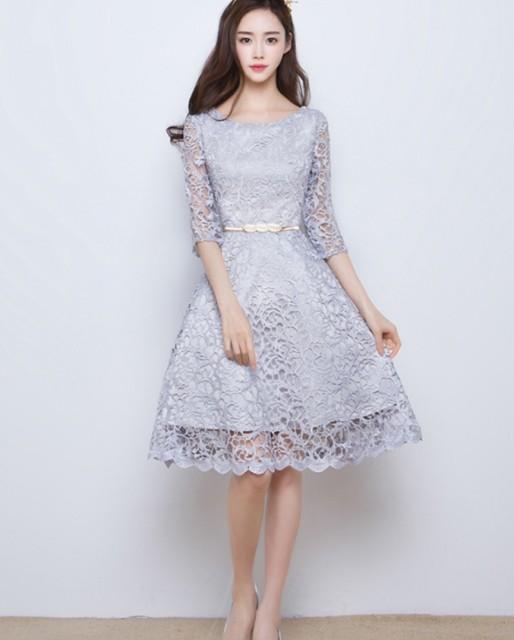刺繍レース★膝丈ドレス パーティドレス ワンピー...