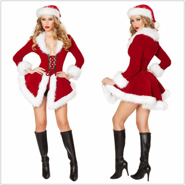 送料無料サンタ コスプレ クリスマス コスチューム サンタコス 長袖 レディース サンタクロース コスプレ  大人 サンタ 衣装