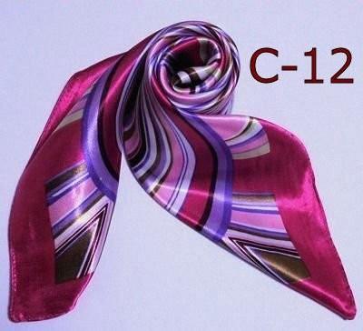カラフル艶やかなシルク調スカーフ シルクロード...