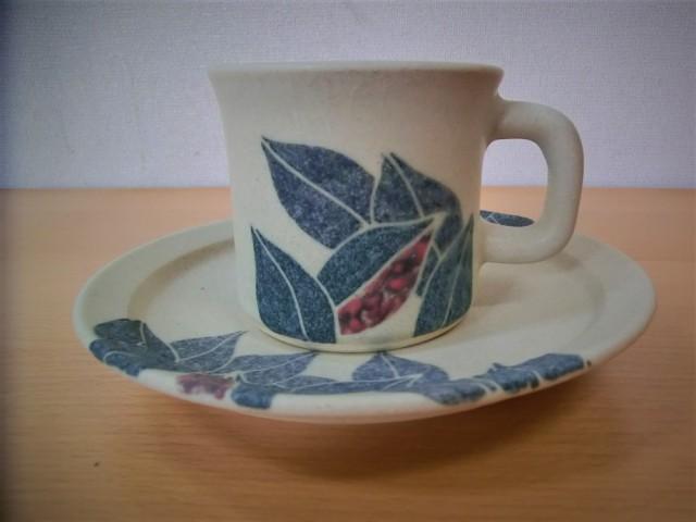 葉紋様 コーヒーカップ
