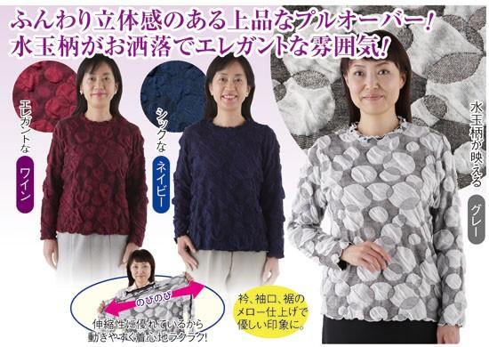 華やぎ 長袖ふくれジャカードプルオーバー(2色組...