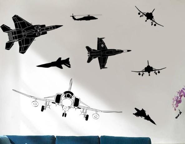 送料無料 ウォールステッカー 戦闘機 飛行機 8個...