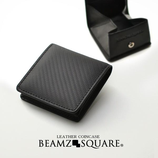 【BEAMZSQUARE】牛革カーボンレザーBOX式コインケ...