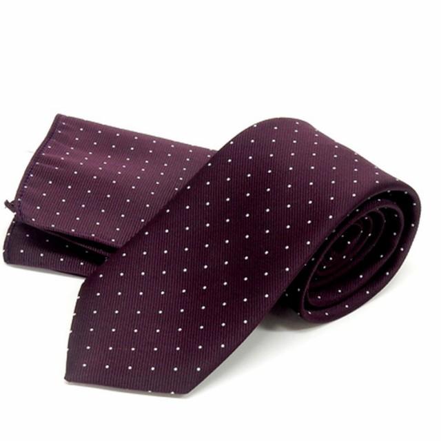 ドット柄ネクタイ ポケットチーフ付 深葡萄色 ...