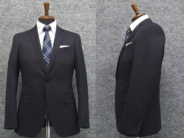 スタイリッシュ2釦スーツ 紺系 ストライプ [YA...