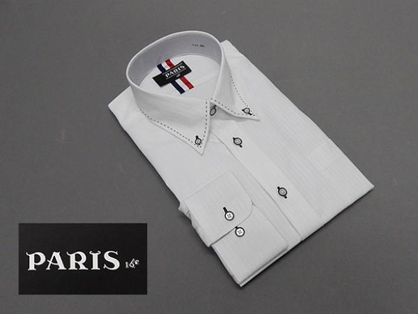 長袖ワイシャツ 白 ドビーストライプ セミロン...