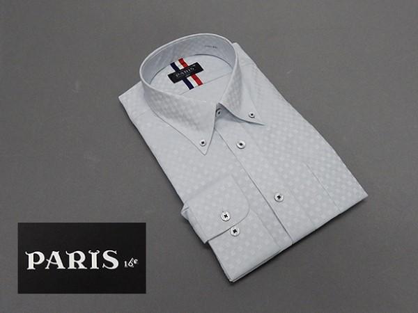 長袖ワイシャツ 淡灰系 市松模様 セミロングポ...