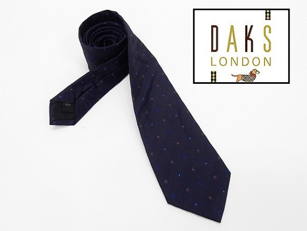 ◇DAKS◇イタリア製ネクタイ◇紺系◇小紋◇シルク...