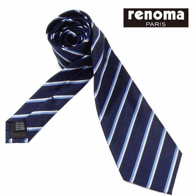 ◇renoma◇イタリア製ネクタイ◇濃紺◇ストライプ...