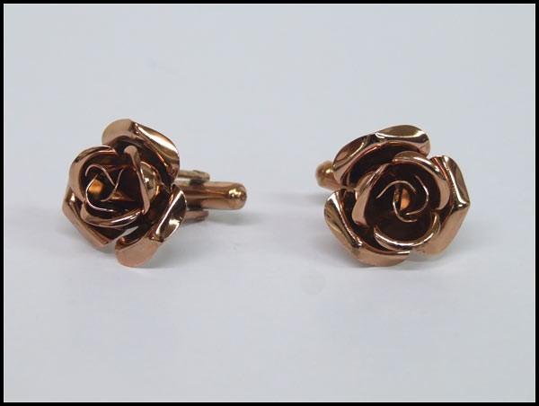◆礼装◆カフスボタン◇薔薇◇ブロンズカフリンク...