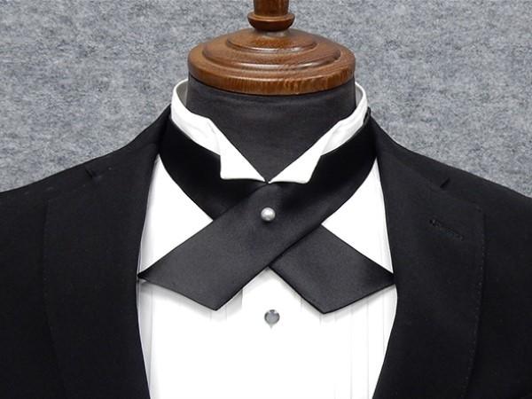 ◆礼装◆クロスタイ◆黒◆シルク パールピン付 ...