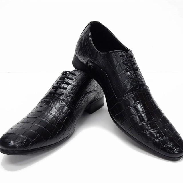 ビジネスシューズ  黒 クロコ型押し 紳士靴 ...