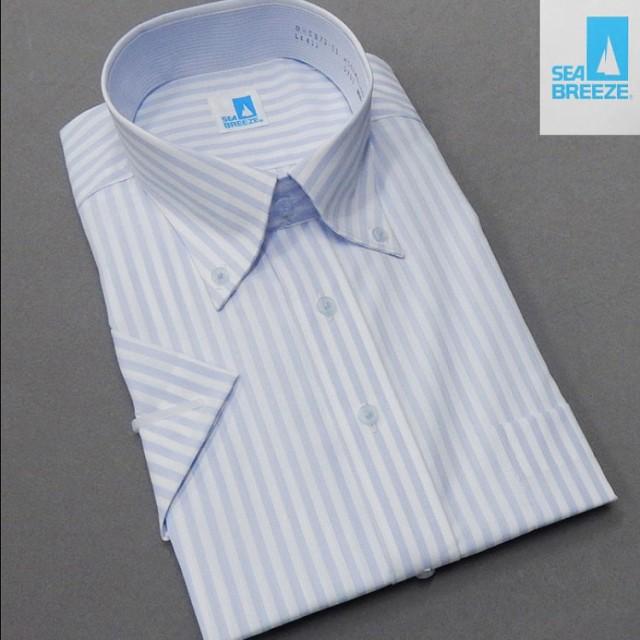 [SEA BREEZE] 半袖/ワイシャツ 白×薄ブルー/ロ...