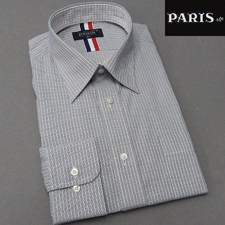 長袖ワイシャツ 白×グレー ストライプ レギュ...