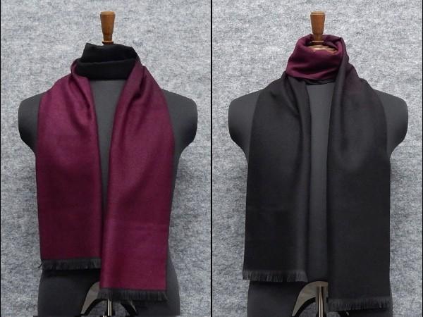 ◆マフラー PARIS16e リバーシブル 赤紫×黒/裏...