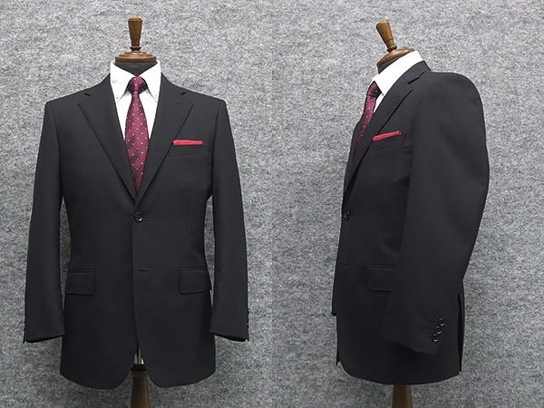 Super100sウール ベーシック2釦スーツ 濃紺/スト...