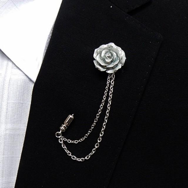 ラペルピン チェーン スワロフスキー 白薔薇 ...