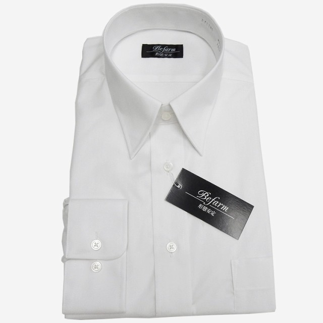 長袖ワイシャツ 白 形態安定 カッターシャツ ...