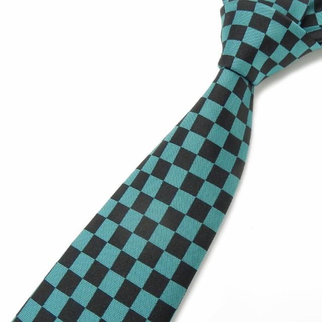 日本製ネクタイ 緑×黒 市松模様/チェッカー柄...