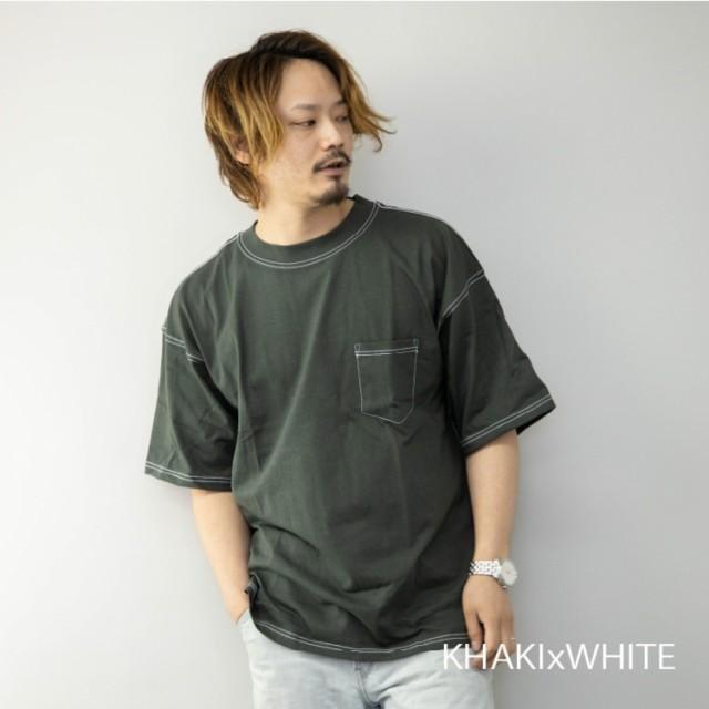 Tシャツ メンズ 半袖 緑カーキ/無地 配色ステッチ...
