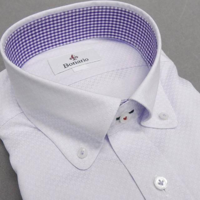 [BONARIO]ワイシャツ ラウンドカラー ボタンダ...