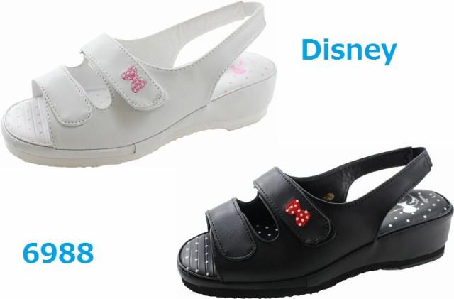 ナースサンダル ディズニー Disney  6988 黒 白 ...