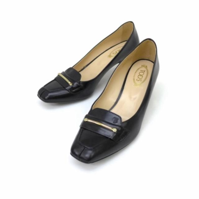 トッズ TOD'S 靴 パンプス 黒 革×エナメ...