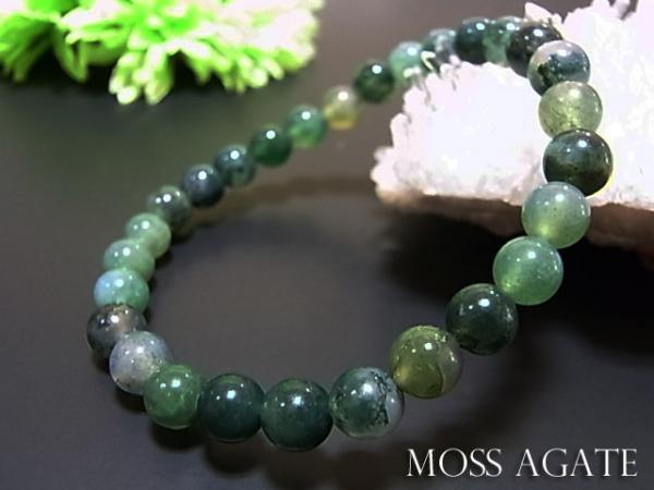 数珠 ブレスレット モスアゲートブレス6MM 天然石...