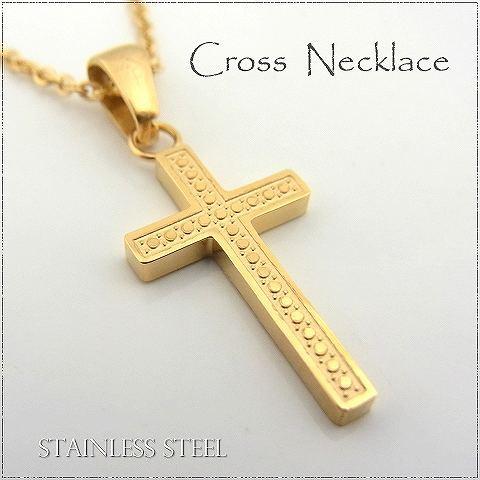 ステンレス ネックレス クロス 十字架 ゴールドカ...