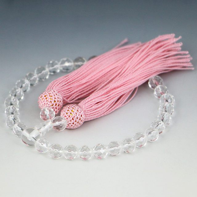 [カット玉・ピンク] 数珠 女性用 水晶の数珠 クリ...