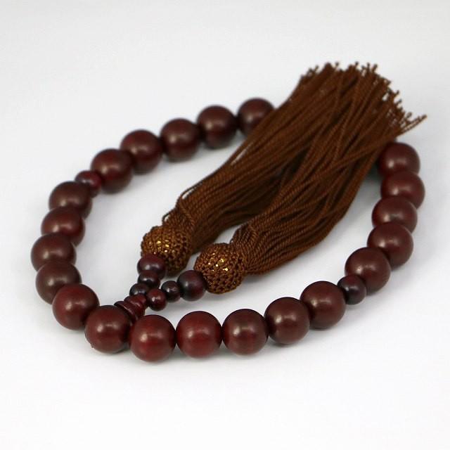 数珠 男女兼用 天然木の数珠 茶