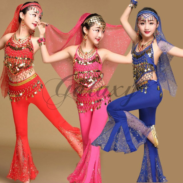 ベリーダンス衣装 インドダンス キッズ 子供 3色 ...