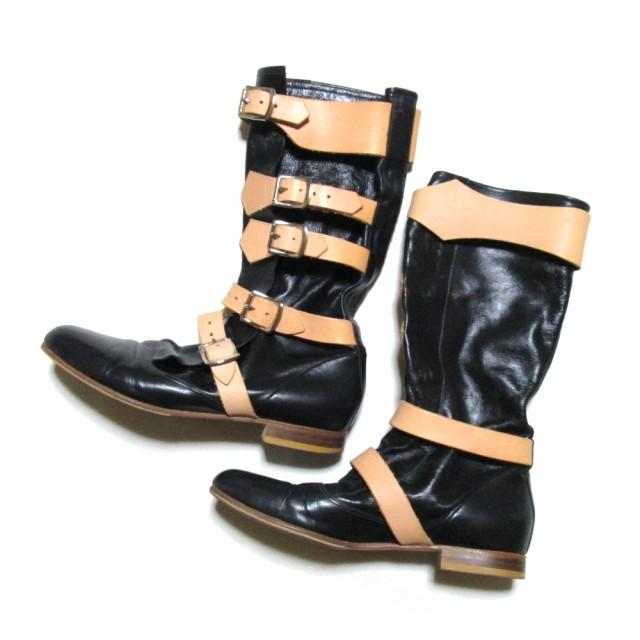 Vivienne Westwood ヴィヴィアンウエストウッド「UK7」レザーパイレーツブーツ (黒  皮 革 靴 シューズ ユニセックス) 106383