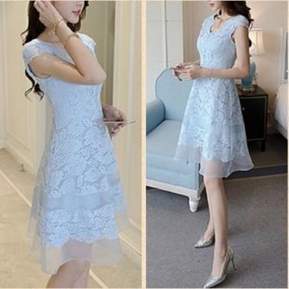 c1f4317d22c6c 結婚式ドレス パーティードレス レース×シフォンで品よく見せる お嬢様風ワンピース a0112