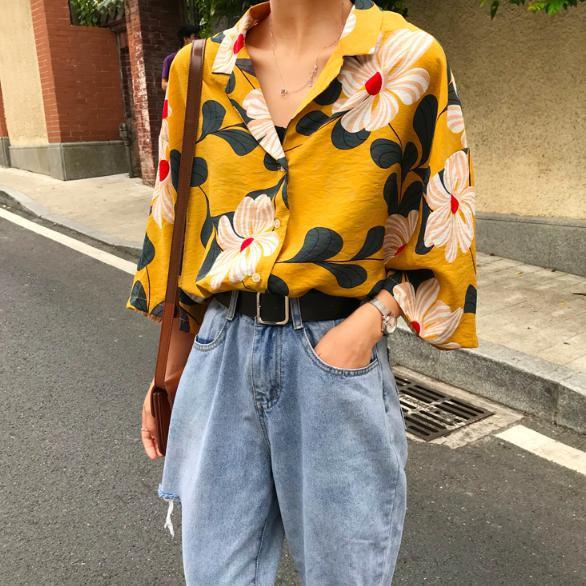 花柄 アロハシャツ 韓国 レディース トップス 夏 ...