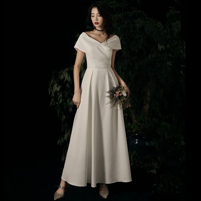 ウェディングドレス 花嫁 二次会 ドレス 白 ロン...
