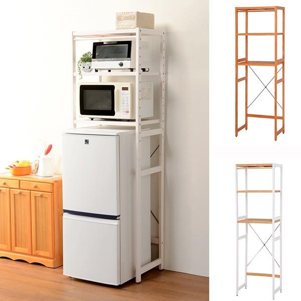 冷蔵庫ラック 木製 カントリー調 幅59cm ( 送料無料 キッチン収納 キッチンラック オープンラック 収納 ラック シェルフ 冷蔵庫 電子レ