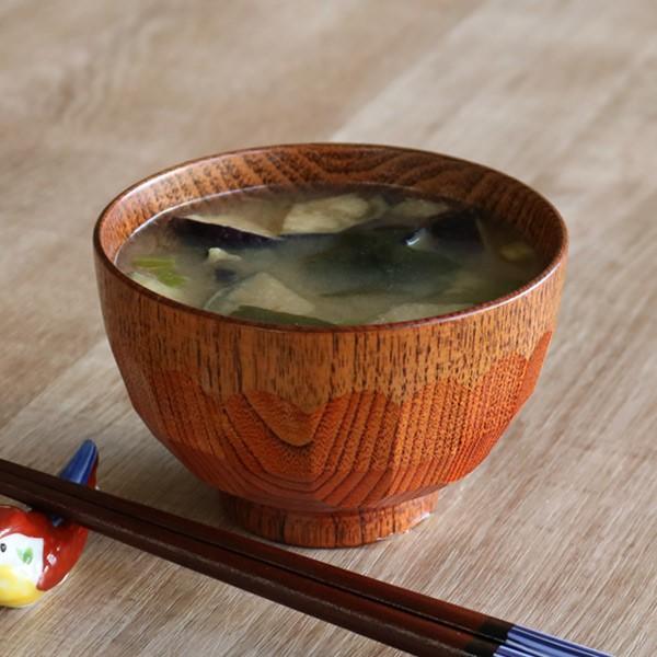 汁椀 木製 270ml 亀甲木目 漆 天然木 食器