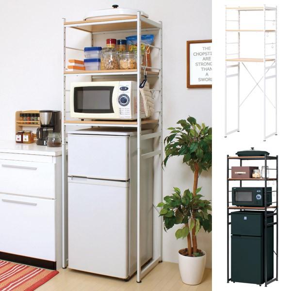冷蔵庫ラック スチールフレーム 木目調天板 幅...