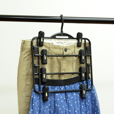 スカートハンガー スカート掛け 4枚掛け ブラ...