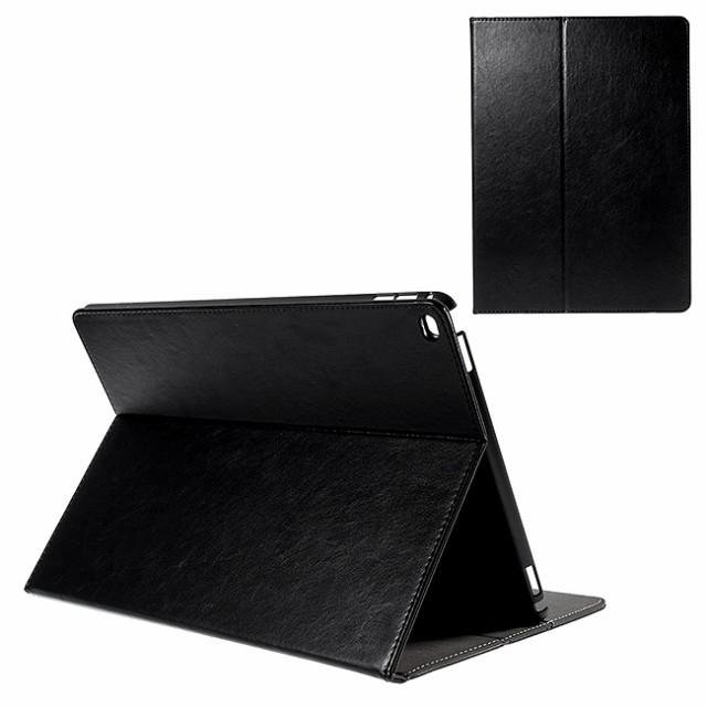 iPad Pro 12.9 レザーケース ブラック 液晶保護フ...
