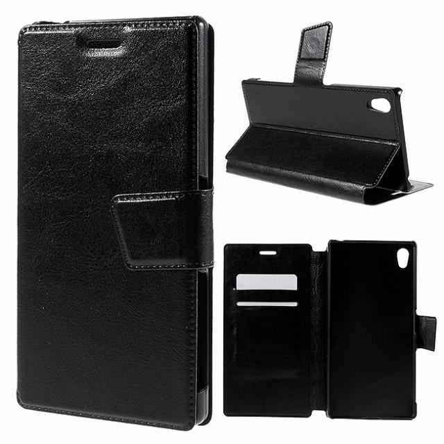 Xperia Z5 Premium レザーケース ブラック 液晶保...