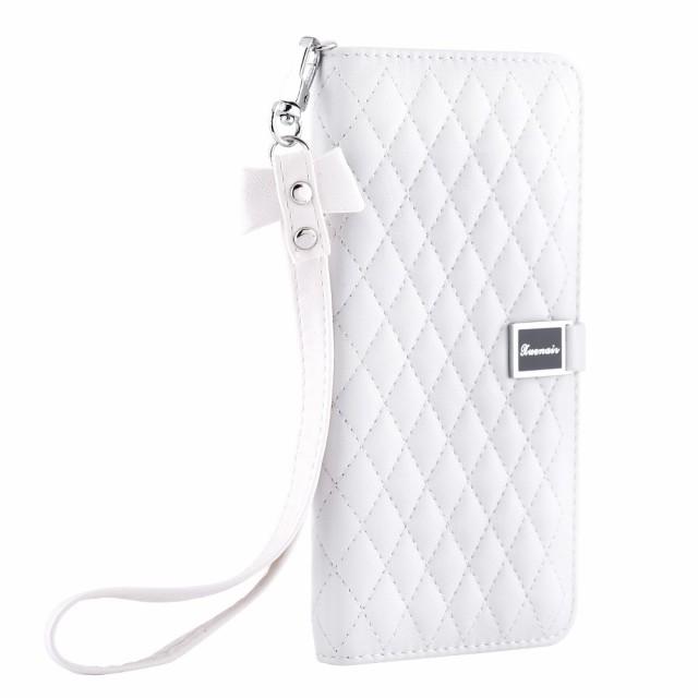 iPhone 7 Plus レザーケース ホワイト 強化ガラス...