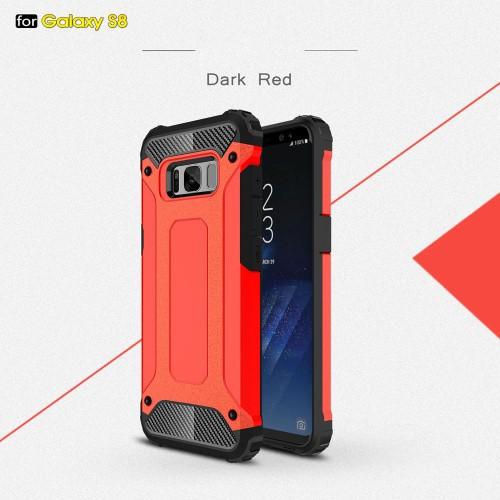 Galaxy S8 ハードケース レッド 強化ガラス保護フ...
