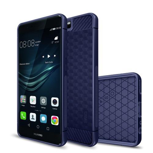 Huawei P10 ハードケース ダークブルー 強化ガラ...